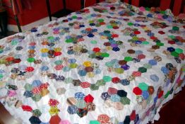 A large patchwork quilt panel, 238cm long, approx 200cm wide (unfinished)