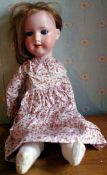 An early 20th century Armand Marseille bisque head socket doll, 396, sleeping blue eyes, open mouth,
