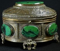 A 19th century French malachite mounted oval casket, in the Palais Royale manner, hinged cover,