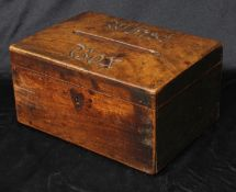 A 19th century mahogany rectangular box, hinged cover with aperture and carved inscription Whist