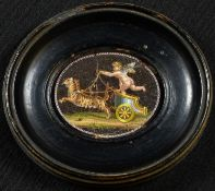 A 19th century Italian micromosic oval panel, depicting an amorino in a chariot drawn by tigers, 3.