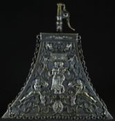 A 16th century style Continental brass mounted triform powder flask, sprung cap to spout, the mounts