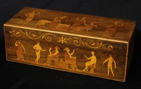 A 19th century marquetry box, inlaid in the Grand Tour taste with Europa and the Bull, a Centaur and