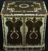 A 19th century rosewood, boulle and ivory canted rectangular cigar cabinet, profusely inlaid with