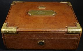 A 19th century gilt brass mounted tan morocco leather despatch box, by Schlender & Edlinger vorm