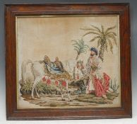 A 19th century Berlin woolwork picture, worked in the Orientalist taste coloured threads and