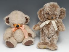 A Merrythought pale chocolate coloured mohair jointed Cheeky teddy bear, brown and black plastic