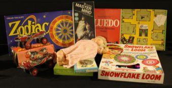 Toys - Cluedo, Chad Valley Zodiac, Tri-ang Snowflake Loom, Phillips Junior Roller Skates, Invicta