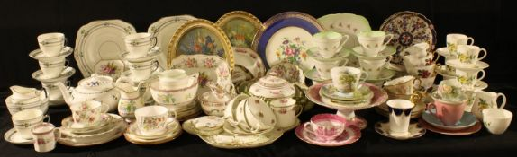 A Shelley Woodland pattern teacup, saucer and tea plate; a Shelley teapot; Staffordshire Royal
