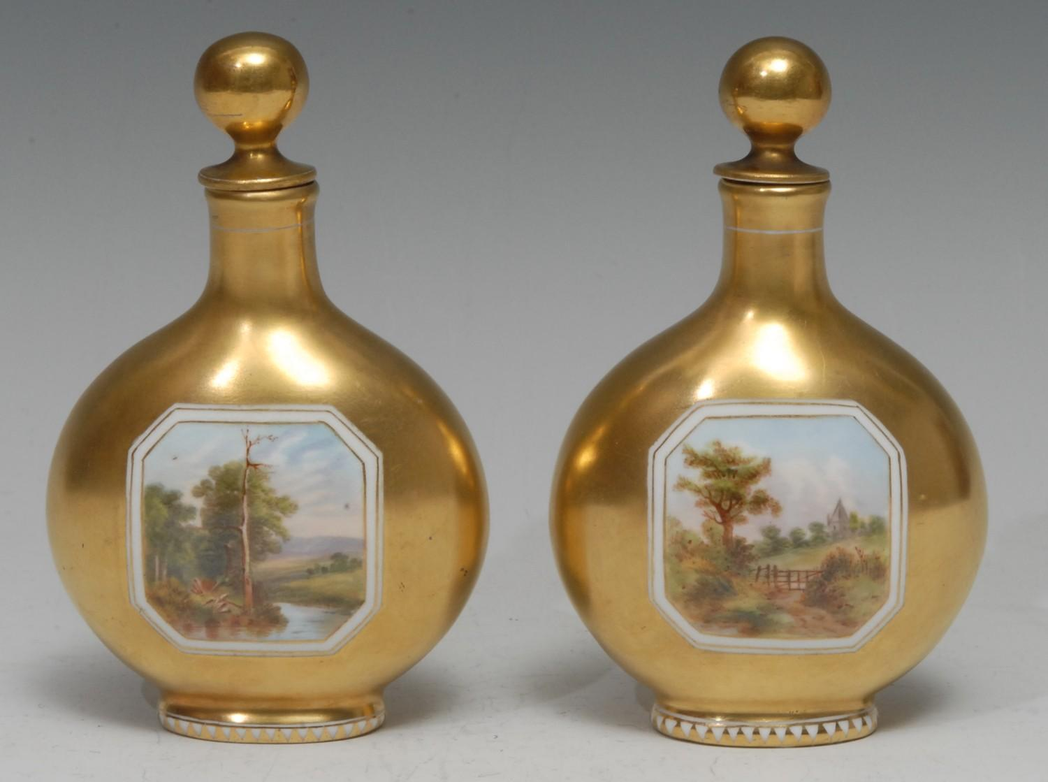 A pair of Coalport pilgrim flask scent bottles, each painted with a canted rectangular landscape - Image 2 of 2