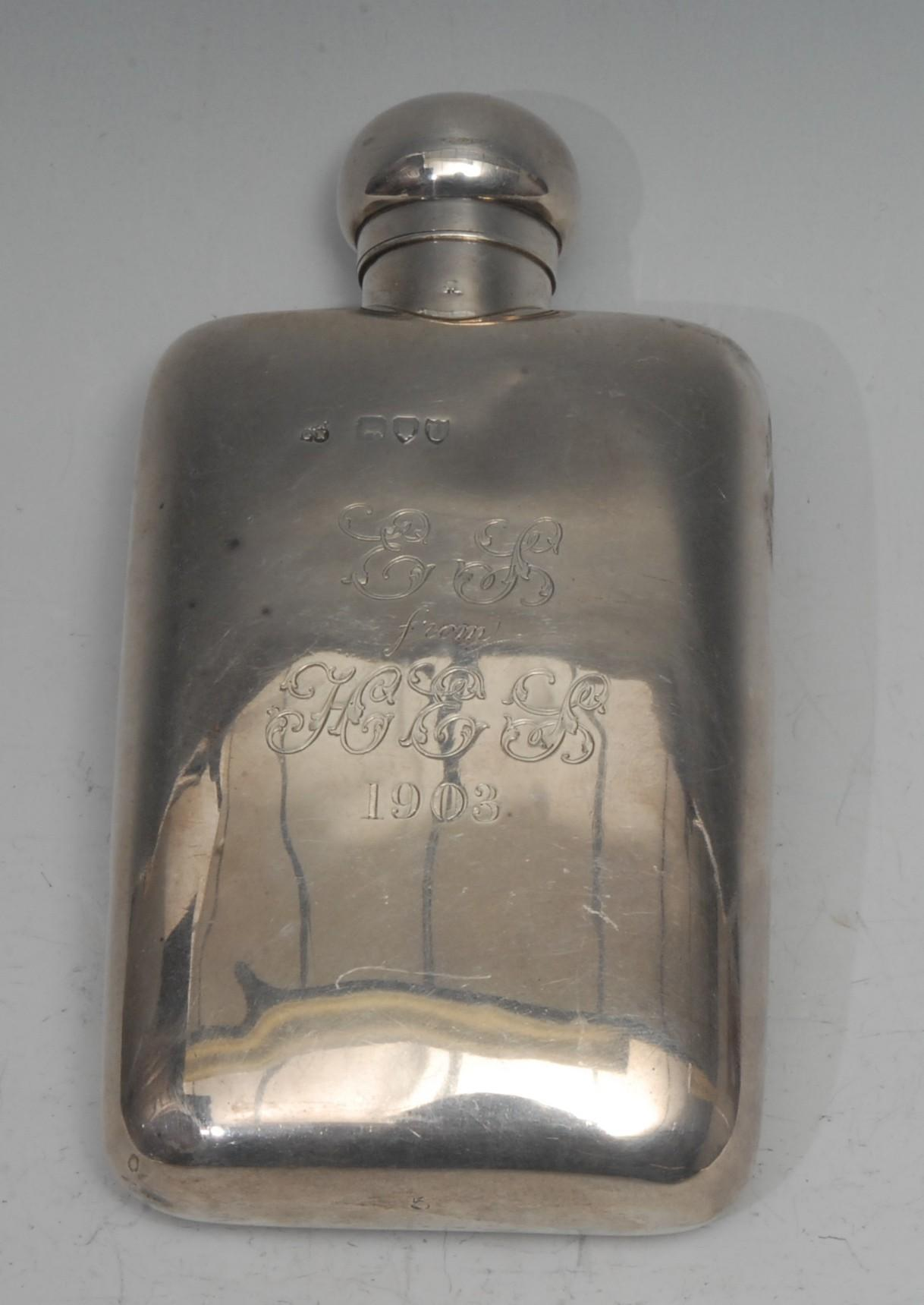 A Victorian silver rounded recytangular hip flask, hinged domed bayonet cap, 14.5cm long, W & G