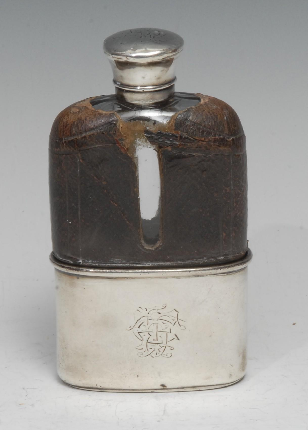 Asprey - Victorian silver and clear glass hip flask, domed screw-fitting cover, stirrup cup to base,