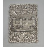 A Victorian silver shaped rectangular castle top visiting card case, embossed with a view of Windsor