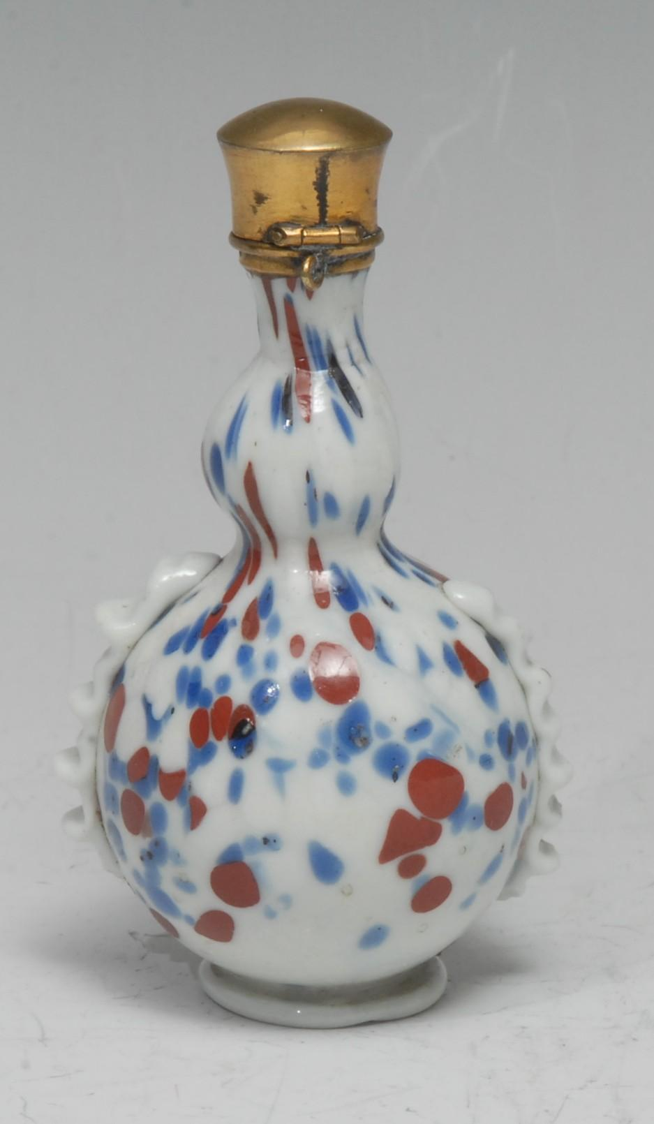 An early 18th century Continental opaque glass gourd-shaped flask or phial, possibly Venetian, the
