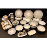 Tableware - a Denby Studio pattern dinner service inc dinner and side plates, soup and serial bowls,