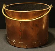 A large 19th century riveted copper log bin with brass swing handle, 28.5cm high excluding handle