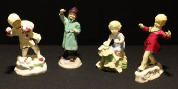 A Royal Worcester figure, January, modelled by F. C. Doughty; others, February, May and December (4)
