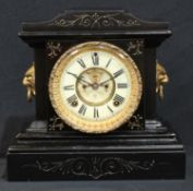 A 19th century style mantel clock, manufactured by The Ansonia Clock Company, New York, 28cm high,