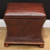 A 'Victorian' waisted rectangular box stool or ottoman, hinged seat, skirted base, cupped casters,