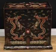 A Chinese table-top cabinet, in the Great Qing Shanxi taste, flush rectangular top above a removable