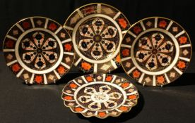 A pair of Royal Crown Derby 1128 pattern plates, 22cm, first quality; a cake plate; a shaped