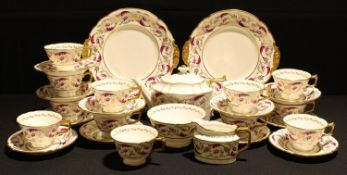 A Royal Crown Derby Princess pattern part tea service comprising cake plates, side plates, teapot,