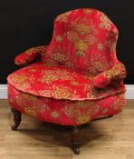 A late Victorian tub proportioned club elbow chair, curved back, serpentine arms, stuffed-over