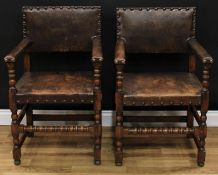 A pair of Cromwellian Revival open armchairs, in the manner of Augustus Welby Northmore Pugin,