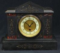 A Victorian black slate noir belge mantel clock, 24cm high, 28cm wide