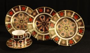 A Royal Crown Derby 1128 pattern coffee can and saucer, first quality; others, set of three side