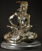 After the Manner of Frederic Remington, a brown patinated bronze, A Native American Brave,