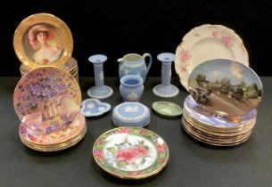 Wedgwood Jasperware candlesticks, jug, trinket dishes; Royal Crown Derby Pinxton Rose1120 (second