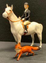 A Beswick Model Huntswoman, grey gloss, another fox (2)