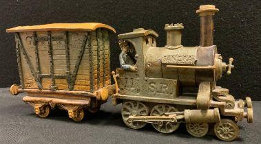 A Charles Forester ceramics studio pottery Locomotive tank engine and goods wagon, 4-4-0 SR