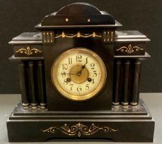 A Belge Noir mantel clock, Junghans movement, architectural pediment, enamelled chapter ring, Arabic
