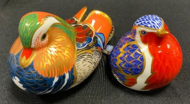 A Royal Crown Derby Mandarin Duck paperweight; another Robin, both gold stopper (2)