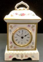 A Royal Crown Derby Royal Antoinette porcelain mantle clock, with floral decoration and gilding,