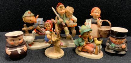 A Hummel Goebel pottery figure Volunteers; others Apple Tree Girl; Meditation etc; similar jugs (7)