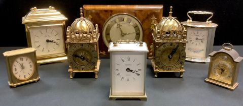 Two Smiths 8 day lantern clocks (17cm high ); a Swiza carriage type clock; another; others including