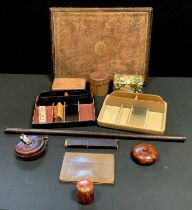 A tooled leather writing board; storage boxes, sectional trays etc *** Please note Trumps brush is