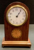 An Edwardian mahogany mantel clock possibly by Duverdry & Bloquel, dome top, Arabic numerals, inlaid