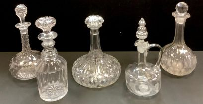 Decanters - a ship?s decanter, two Edwardian decanters, a mallet shaped decanter, another (5)