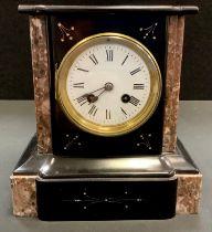 A black slate and marble mantel clock, enamelled face, Roman numerals, plinth base. 23cm high.