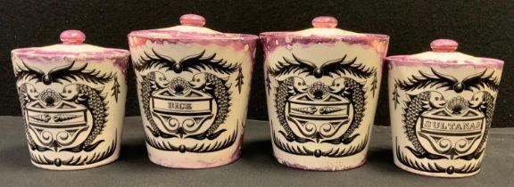 Kitchenalia - a set of four Grays pottery armorial type storage vessels, Rice, Sultanas etc