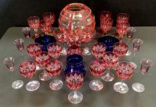 Ruby flash wine glasses, Bristol Blue vases, LSA globular vase, others.