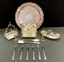 Plated ware including six piece cruet, butter dish and cover, pickle dish and forks, berry spoons,