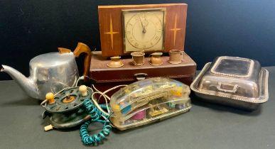 A retro Mybelle spot light telephone; a Picquet ware teapot; an EPNS rectangular entrée dish and