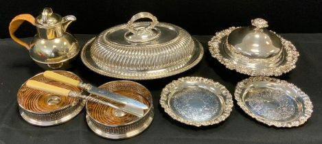 Silver Plate - a late 19th century oval entree dish, monogrammed initials EBG, bayonet loop handle;