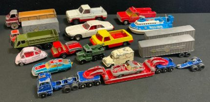 Diecast vehicles including Corgi toys; Dinky and Lesney, including pickup trucks, transporter,