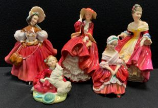 A Royal Doulton Figure The Skater, Hn 2117; others Top o the Hill, Southern Belle, Home Again etc,